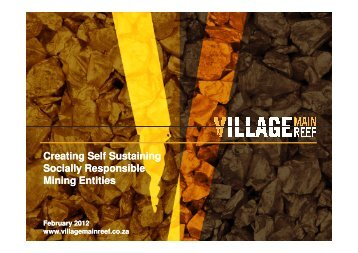 Creating Self Sustaining Socially Responsible Mining Entities