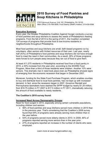 2010 Survey Of Food Pantries And Soup Kitchens In Philadelphia