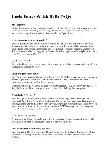 Lucia Foster Welch Halls FAQs