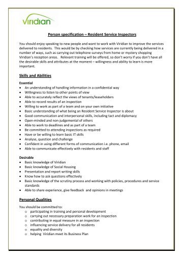 Person specification - Viridian Housing