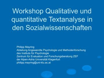 Workshop Qualitative und quantitative Textanalyse in den ...