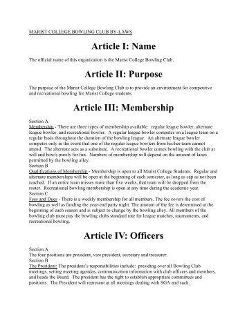 Article I Name Article II Purpose Article III Membership Article IV Officers