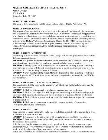 Marist College BY-LAWS Amended July 27 2013