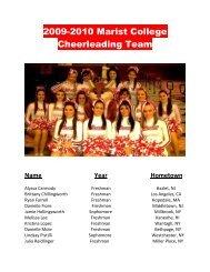 2009-2010 Marist College Cheerleading Team