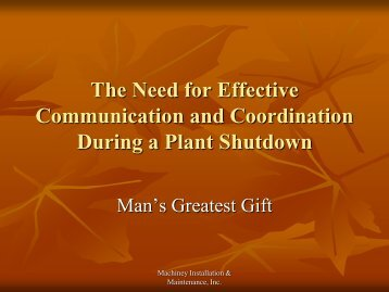 The Need for Effective Communication and Coordination During a Plant Shutdown