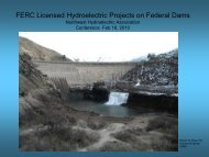 FERC Licensed Hydroelectric Projects on Federal Dams