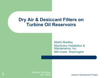 Dry Air & Desiccant Filters on Turbine Oil Reservoirs