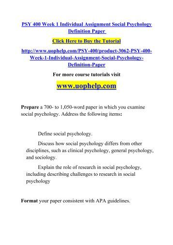 psy 201 social psychology paper Review the university material: social psychology paper scenario write a 750- to 1,200-word paper using the social psychology paper scenario in which you answer the following questions.
