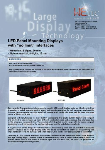 """LED Panel Mounting Displays with """"no limit"""" interfaces"""