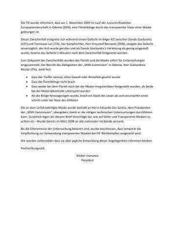 Die FIE wurde informiert, dass am 1. November 2009 im Lauf der ...