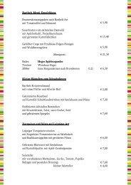 Speisekarte - Gasthaus Barthels Hof