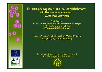 Ex situ propagation and re–establishment of the Pannonian ...