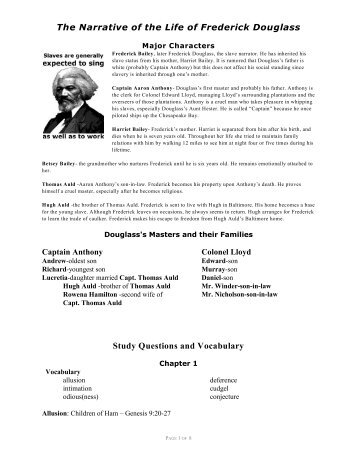 an analysis of the narrative of life of frederick douglass an ex slave The narrative of frederick douglass chapter 6 summary & analysis from litcharts the transformation in sophia shows how slavery corrupts the slave owners.
