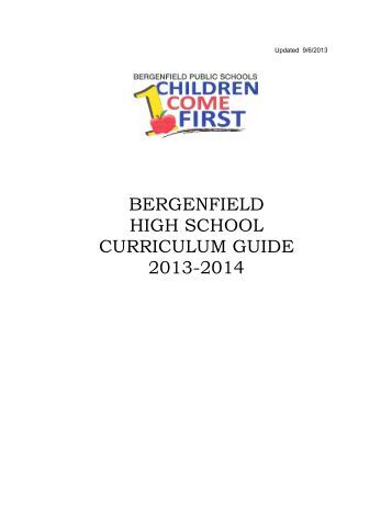 BERGENFIELD HIGH SCHOOL CURRICULUM GUIDE 2013-2014