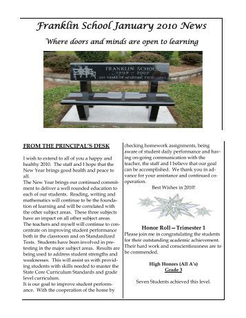 Frank Newsletter JANUARY 2010 - INTERNET.pub ... - Bergenfield.org