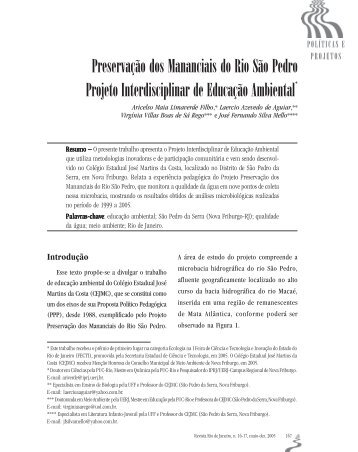 Preservação dos Mananciais do Rio São Pedro Projeto ...