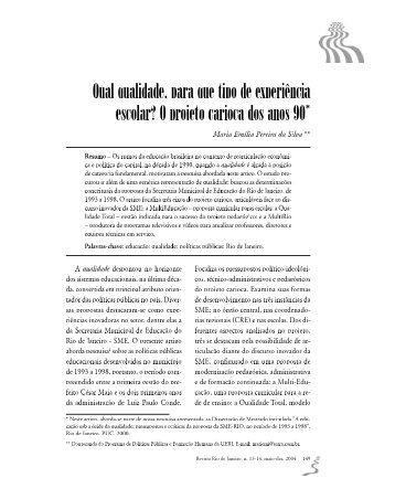 O projeto carioca dos anos 90