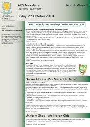 AISS Newsletter Term 4 Week 3 Friday 29 - Australian International ...