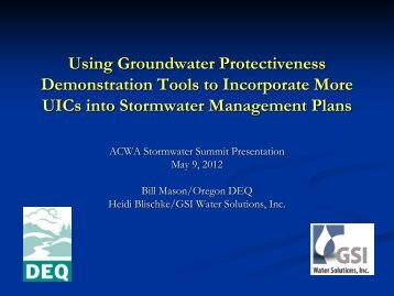 Using Groundwater Protectiveness Demonstraton Tools