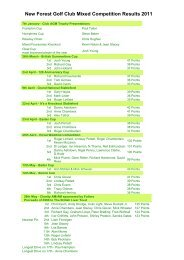 New Forest Golf Club Mixed Competition Results 2011