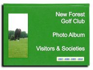 2007 to 2010 - New Forest Golf Club