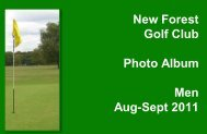 New Forest Golf Club Photo Album Men Aug-Sept 2011