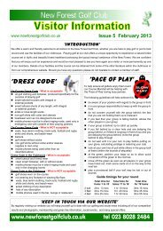 'Dress code' 'Pace of play' www.newforestgolfclub.co.uk tel 023 8028 2484