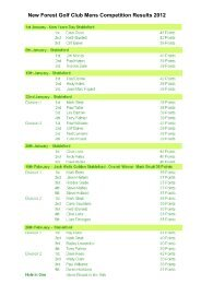 New Forest Golf Club Mens Competition Results 2012