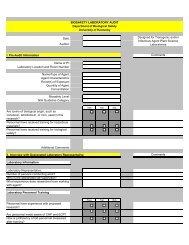 Biosafety Audit Checklist (Plant) - University of Kentucky