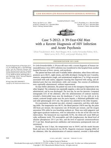 Case 5-2012: A 39-Year-Old Man with a Recent Diagnosis of HIV ...
