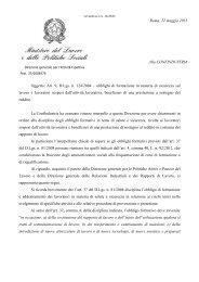 Interpello n. 16/2013 - Ministero del Lavoro e delle Politiche Sociali