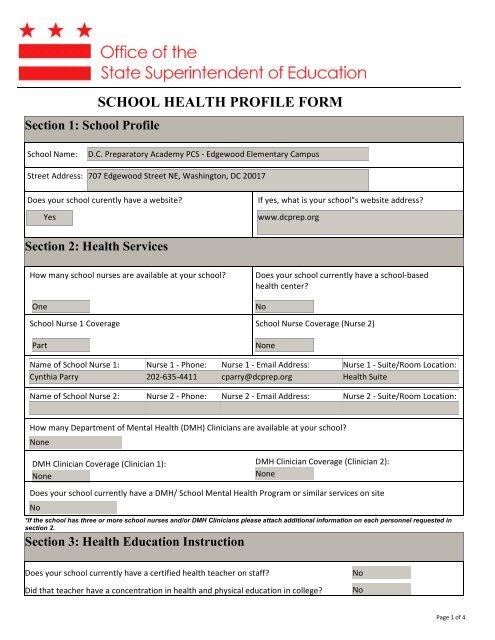 SCHOOL HEALTH PROFILE FORM