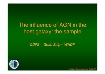 The influence of AGN in the host galaxy the sample