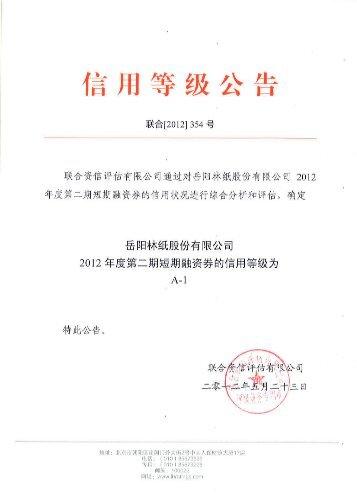 岳阳林纸股份有限公司2012年度第二期短期融资券信用评级报告