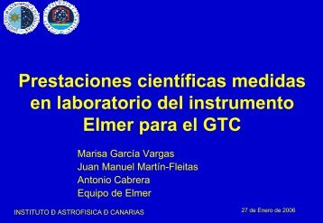 Detailed characterization at laboratory of Elmer scientific ...