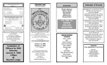 Trestleboard January 2005 - Boynton Masonic Lodge No. 236