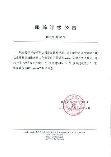 天津滨海新区建设投资集团有限公司跟踪评级报告 - 联合资信评估有限 ...