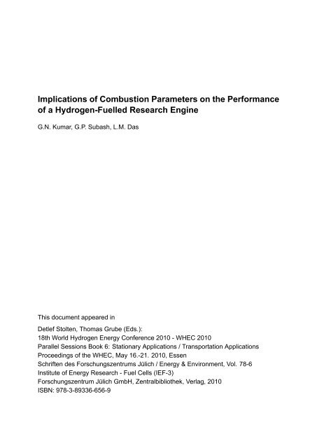 Implications of Combustion Parameters on the Performance ... - JuSER