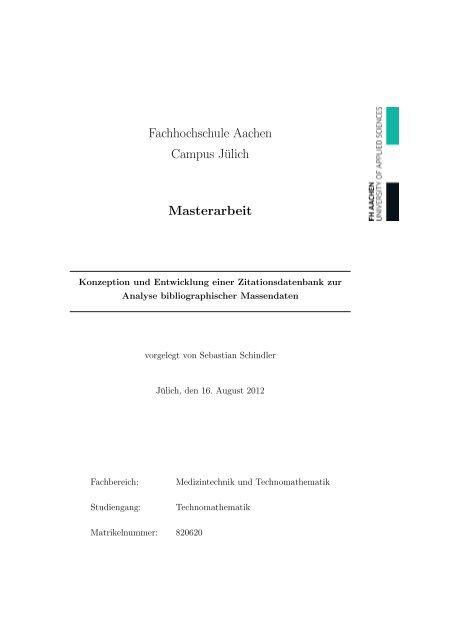 Fachhochschule Aachen Campus Jülich Masterarbeit