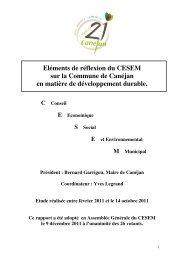sur la Commune de Canéjan en matière de développement durable