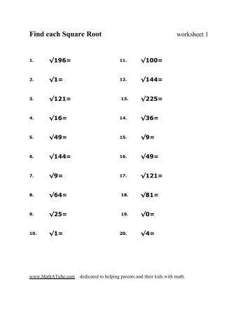 Find each Square Root worksheet -3