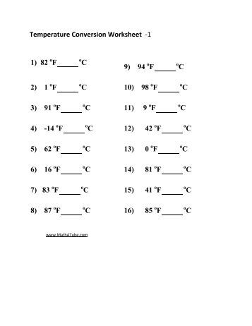 Collection of Temperature Conversion Worksheet - Sharebrowse