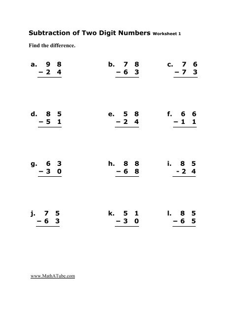 subtraction of two digit numbers worksheet  a     math a tube