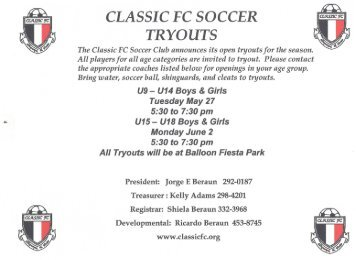 CLASSIC FC SOCCER TRYOUTS