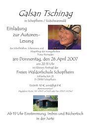 Galsan Tschinag in Schopfheim - Freie Waldorfschule Schopfheim