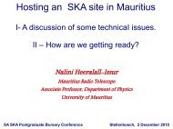 Hosting an SKA site in Mauritius