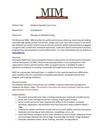 Draft – Position Description, Director of Individual Gifts - Musical ...
