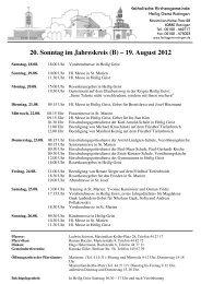 20. Sonntag im Jahreskreis (B) – 19. August 2012 - Heilig Geist