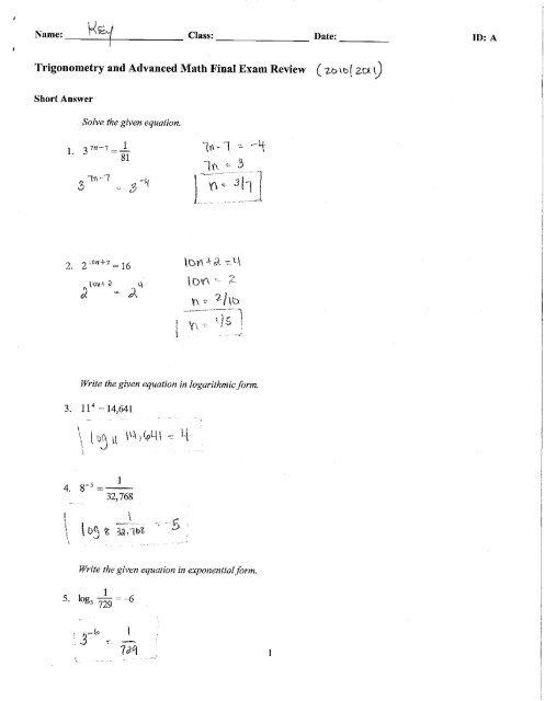 Trigonometry and Advanced Math Final Exam Review (2,0 \b[ 2,611)