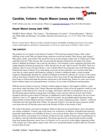 candide voltaire bettina l knapp essay date  candide voltaire haydn mason essay date 1992